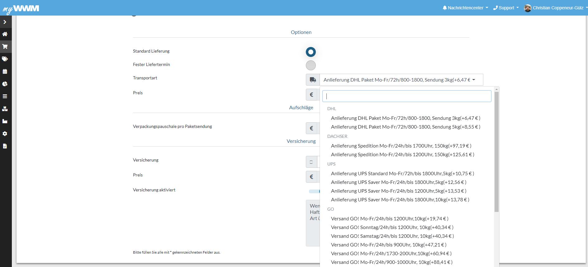 Anbindung Versanddienstleister