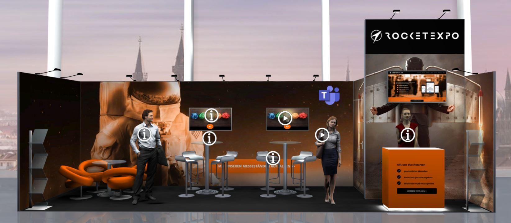 Virtueller Messestand in einer 2D-Umgebung