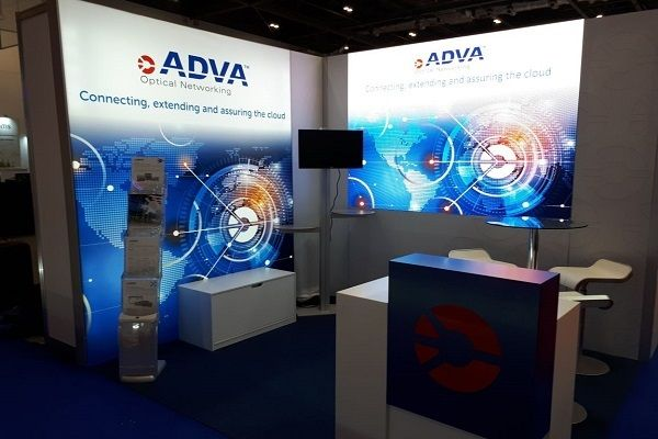 digitale Messewände bei Adva Optical