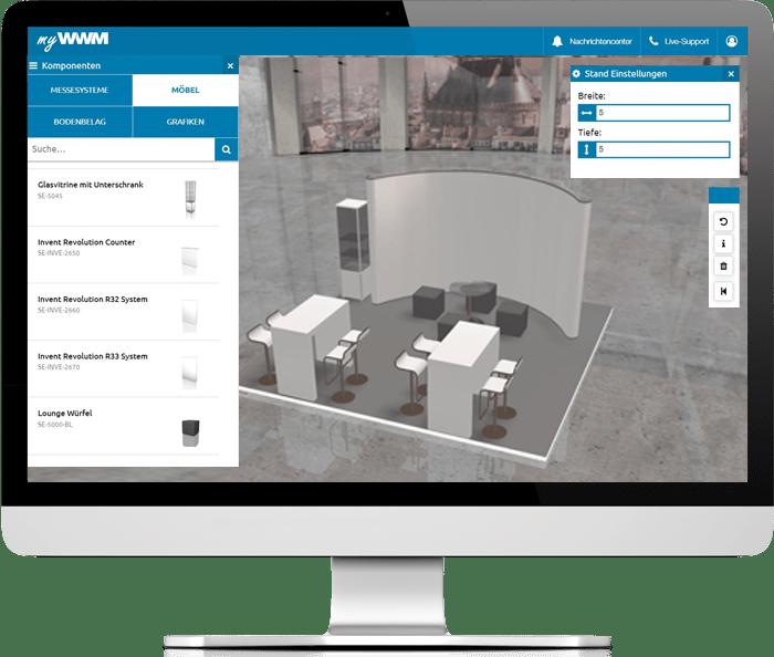 myWWM Studio 3D Messestandplaner Möbelauswahl