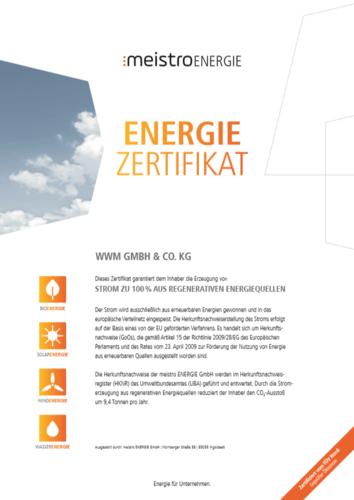 Zertifikat - Strom aus erneuerbaren Energien
