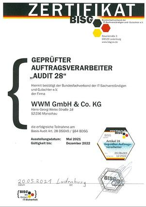 Zertifikat Audit-28