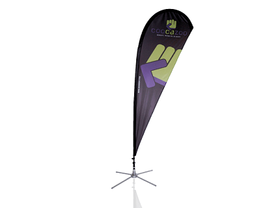 Outdoor Messesystem Beachflag OpenSky Tropfenform kostenfrei mieten